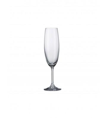 Set 6 Pahare sampanie cristal Bohemia, Klara - 220 ml