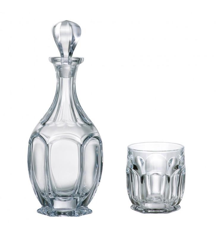 Set Decantor si 6 Pahare WHISKY cristal Bohemia, Safari
