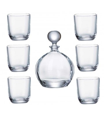 Set sticla si 6 Pahare WHISKY cristal Bohemia, Orbit