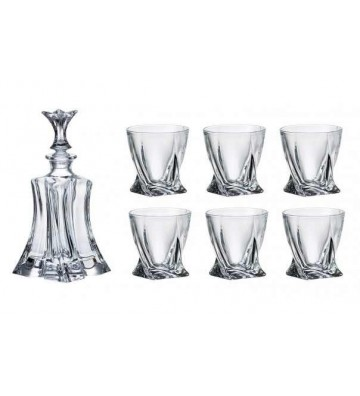 Set sticla si 6 Pahare WHISKY cristal Bohemia, Florale