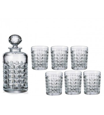 Set sticla si 6 Pahare WHISKY cristal Bohemia, Diamond
