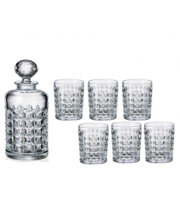 Set sticla si 6 Pahare WHISKY cristal Bohemia, Diamond