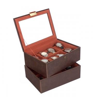Set 2 cutii pentru 16 ceasuri brown/orange