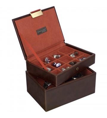 Set 2 cutii pentru ceasuri si butoni brown/orange
