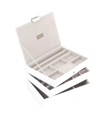 Set 3 cutii bijuterii medii alba-Stackers
