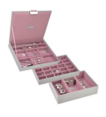 Set 3 cutii bijuterii medii dove grey& antique rose-Stackers