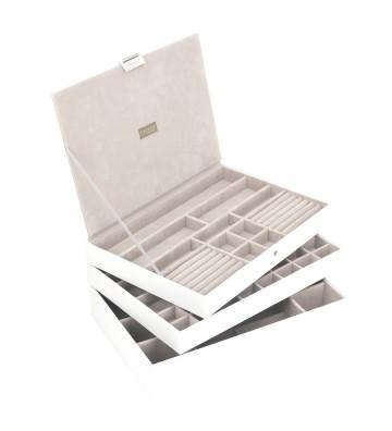 Set 3 cutii bijuterii maxi alba-Stackers