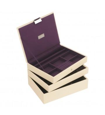 Set 3 cutii bijuterii medii cream/purple-Stackers