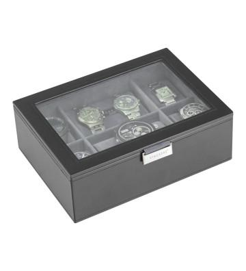 Cutie 8 ceasuri cu capac de sticla black/grey