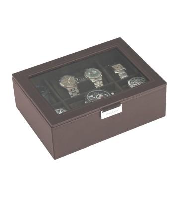 Cutie 8 ceasuri cu capac sticla brown