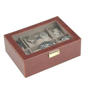 Cutie pentru 8 ceasuri cu capac sticla caro