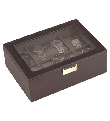 Cutie 8 ceasuri cu capac sticla brown/khaki