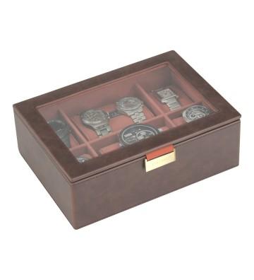 Cutie 8 ceasuri cu capac sticla brown/ orange
