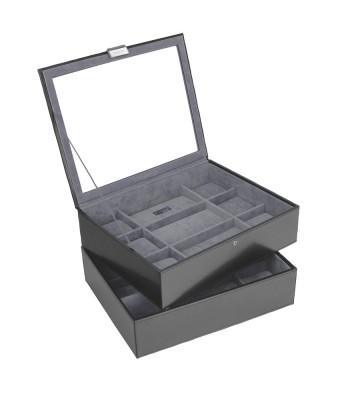 Set 2 cutii maxi ceasuri black/grey