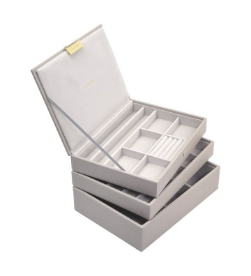 Set 3 cutii bijuterii medii taupe-Stackers