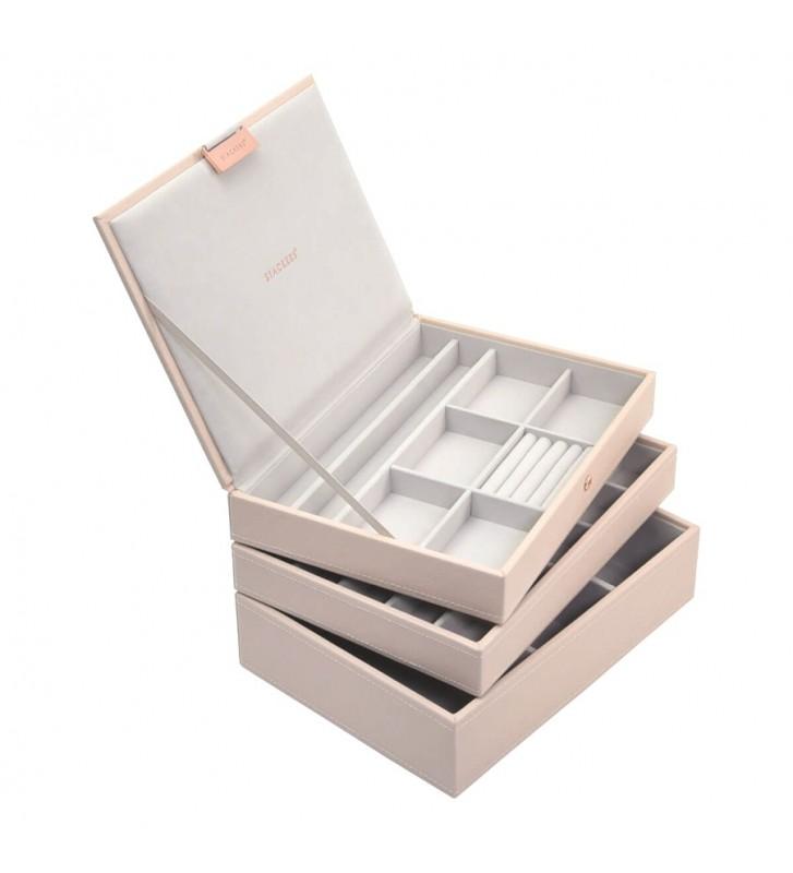 Set 3 cutii bijuterii medii blush pink-Stackers