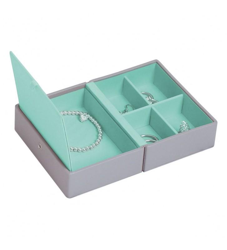 Cutie bijuterii calatorie dove grey/ mint