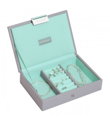 Mini cutie bijuterii dove grey/mint