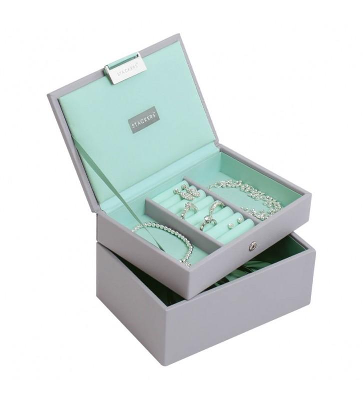 Set 2 mini cutii bijuterii dove grey/mint