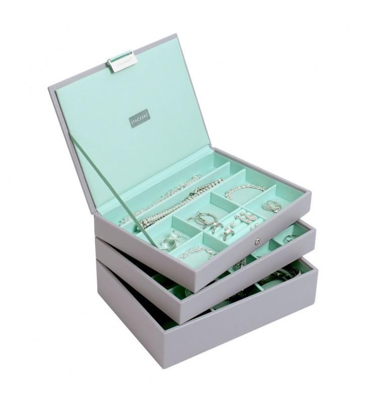 Set 3 cutii bijuterii medii dove grey/mint