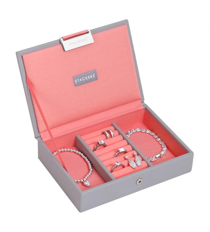 Mini cutie bijuterii dove grey/coral