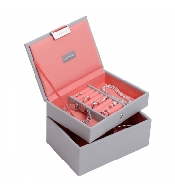 SET 2 MINI CUTII BIJUTERII DOVE GREY/CORAL-STACKERS