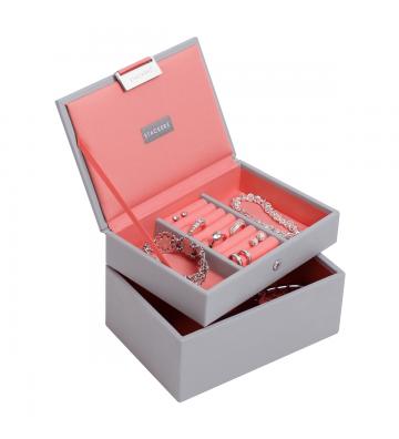 Set 2 mini cutii bijuterii dove grey/coral-Stackers
