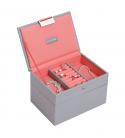 Set 2 mini cutii bijuterii dove grey/coral