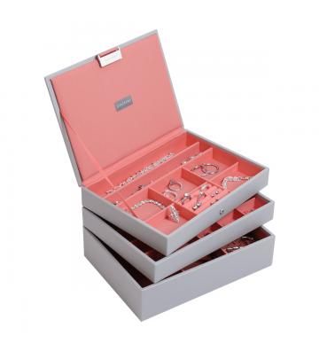 Set 3 cutii bijuterii medii dove grey/coral-Stackers
