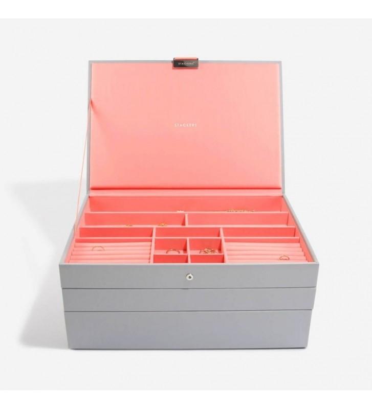 Set 3 cutii bijuterii maxi dove grey/coral