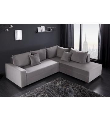 Canapea pat coltar din catifea gri