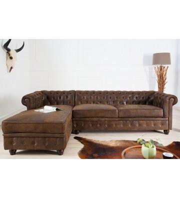 Canapea de colt stanga Chesterfield antica maro