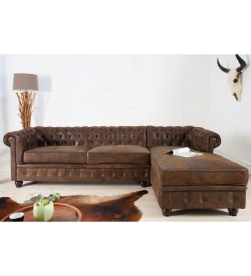 Canapea de colt dreapta Chesterfield maro antic