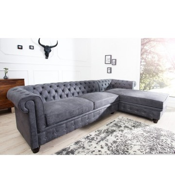 Canapea de colt dreapta Chesterfield gri antic