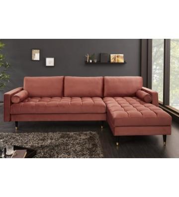 Canapea de colt Cozy Velvet roz