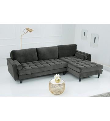 Canapea de colt Cozy Velvet gri