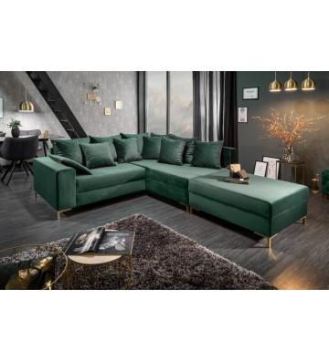 Canapea colt 220cm cu scaun din catifea verde smarald