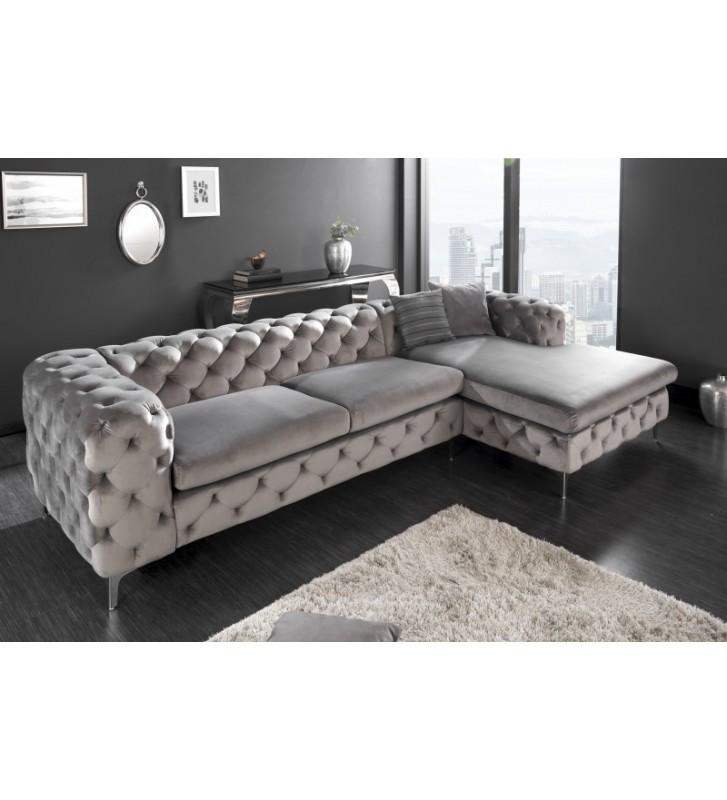Canapea de colt moderna din catifea gri