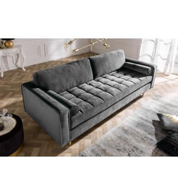 Canapea confortabila din catifea gri 225 cm