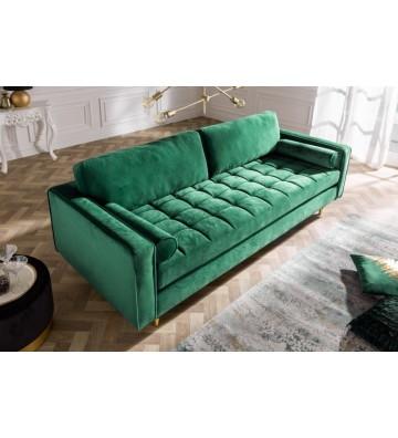 Canapea confortabila din catifea verde smarald 225 cm