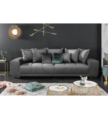 Canapea Elegancia din catifea gri-argintie de 280 cm