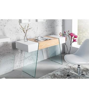 Consola / birou Onyx 120cm din stejar alb si sticla