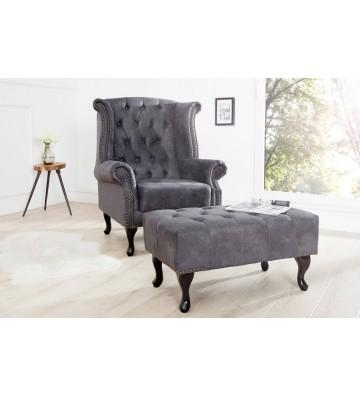 Aripa de scaun Chesterfield gri cu aspect antic