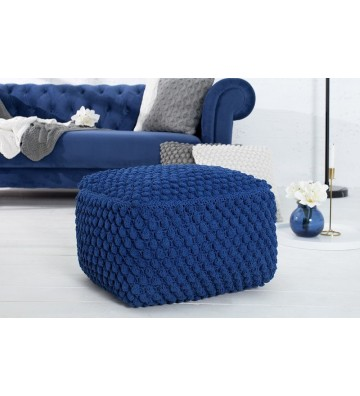 Tamburel comfortabil, 55cm albastru inchis din tricot