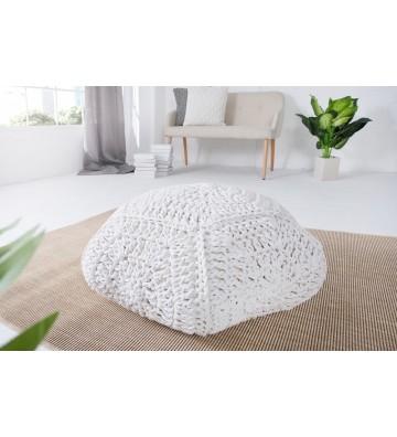 Tamburel confortabil IV 70cm cu aspect alb tricotat
