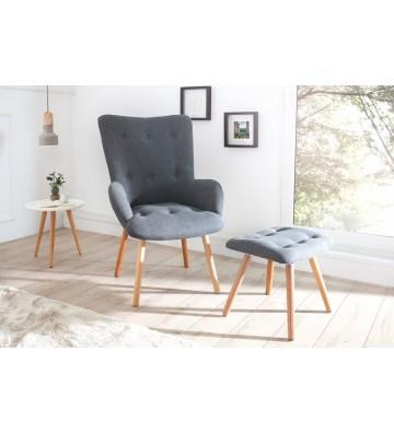 Set de fotoliu si scaun Scandinavia gri